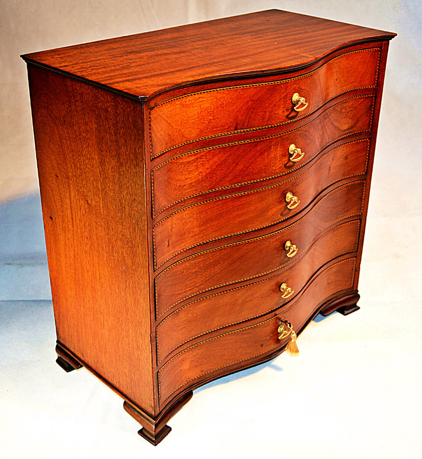 Antique 19th Century, Georgian style Apprentice Miniature Serpentine Chest of Drawers