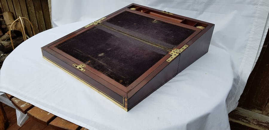Antique Antique Victorian c1860 military campaign brass bound rosewood writing slope