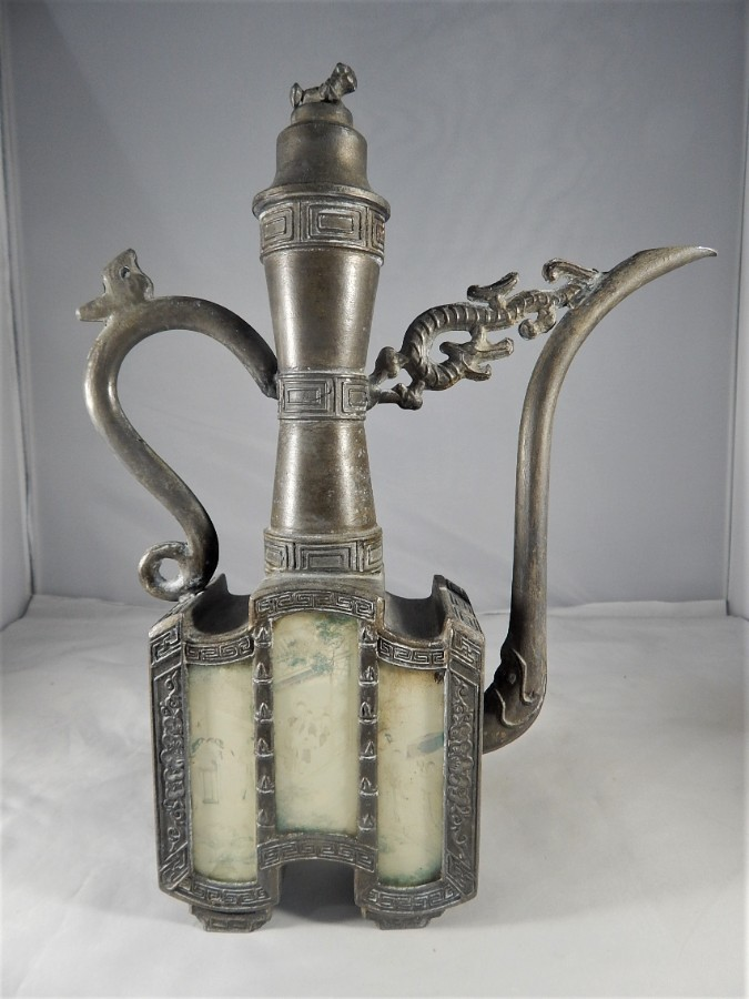 Antique Old Chinese Pewter Teapot/Ewer with 6 Painted Panels