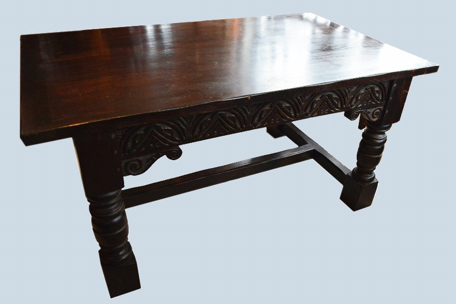 Jacobean revival solid Oak refectory table and chairs