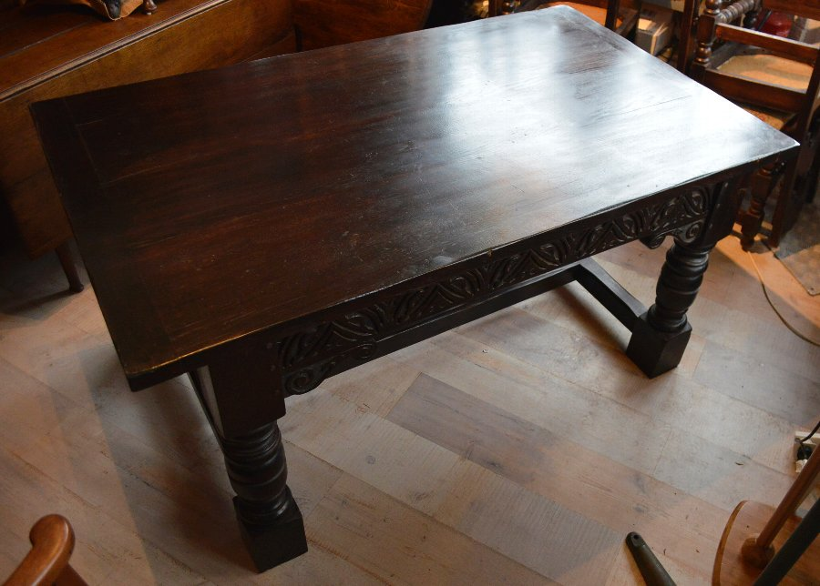 Antique Jacobean revival solid Oak refectory table and chairs