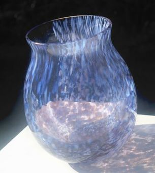Antique Caithness Glass Flow Pattern Purple Design Bubble Glass Round Vase