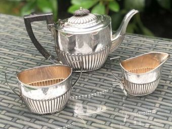 Antique Antique Solid Silver Gilt Sterling Silver Hallmarked Art Deco Tea Set Service
