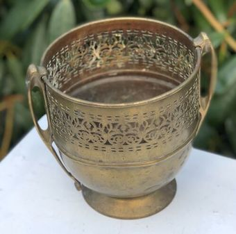 Antique Art Nouveau Antique Brass Large Flower Pot Plant Pot Holder Ornate Jardiniere