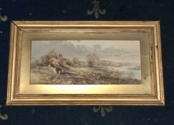 Antique Frank Gresley Antique Framed Rural House Cottage Country Scene Painting