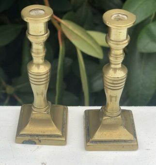 Antique Antique Brass Small Miniature Square Base Candle Sticks Stands Holders