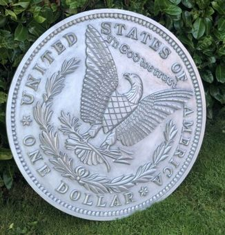 Antique VERY LARGE 3F American United States Of America USA Eagle One Dollar Coin Plaque