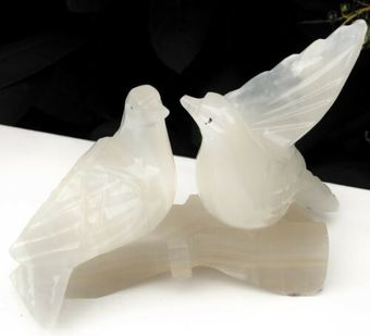 Antique Onyx Stone ???? Mexico Mexican Love Birds Loving Romance Sculpture Ornament