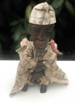 Antique Tribal Art Vintage Warrior Army Clothed Wood Wooden Figure Figurine Sculpture