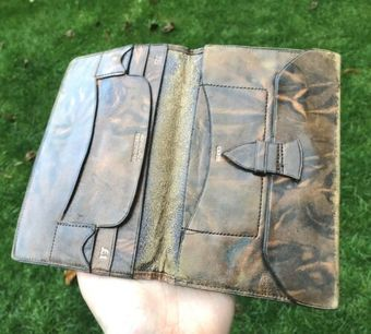 Antique Vintage Leather Card Certificate Case Money Holding Wallet