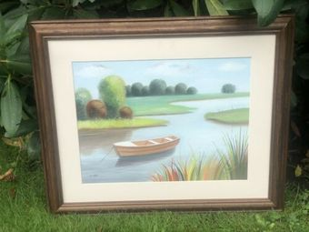 Antique Vintage River Stream Lake Reservoir Boat Marine Scene Painting Signed By Artist