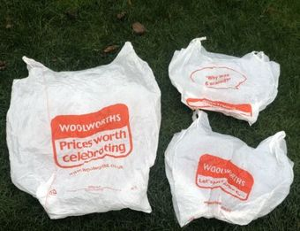 Antique Woolworths RARE Original Set Of Three Small Medium & Large Shopping Carrier Bags