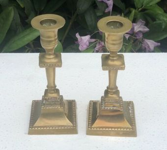 Antique Brass Antique Square Base Candle Stick Holder Stands