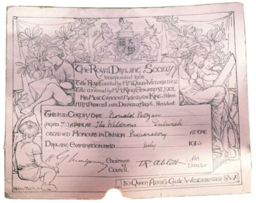 Royal Drawing Society Antique 1919 Certificate