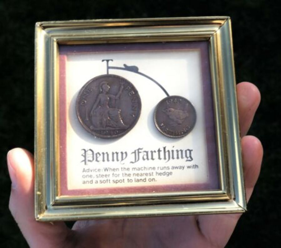 Penny Farthing Shaped Diorama Picture Made From Antique Coins