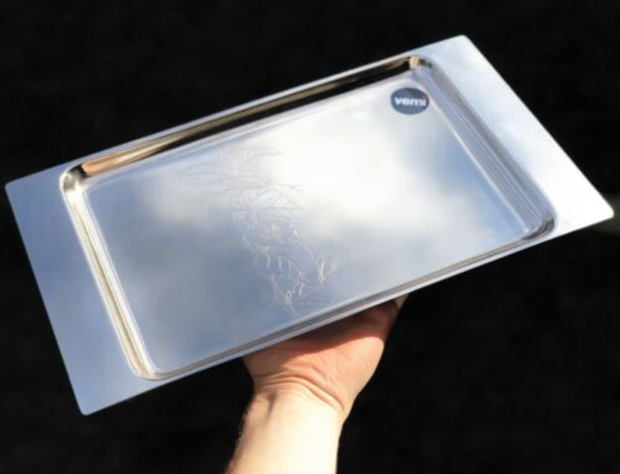 Vemi Italian Stainless Steel Thea Sinensis Tea Plant Design Tea Serving Tray