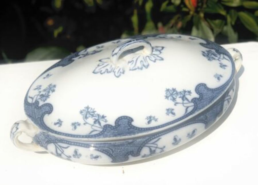 Antique Victorian Blue & White Tureen Serving Dish Royal Staffordshire Pottery
