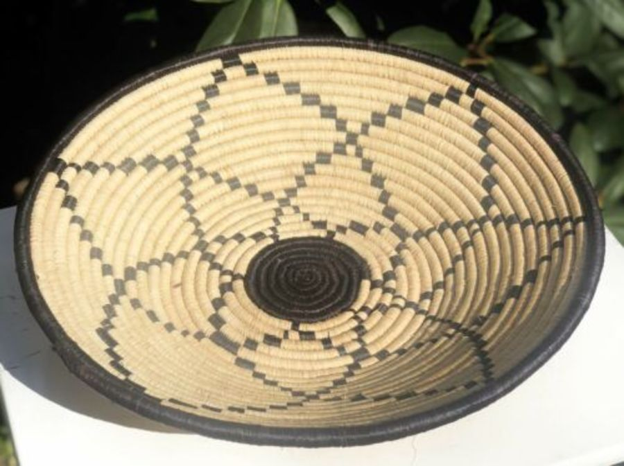 Tribal Art African Straw Or Fabric Wicker Handmade Floral Pattern Fruit Bowl