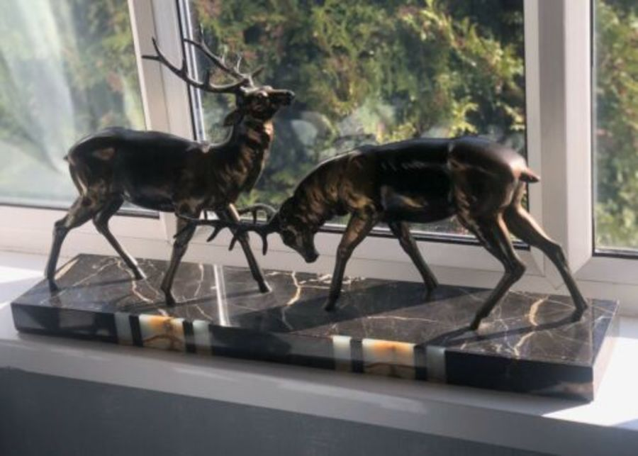 Art Deco LARGE Marble Based Onyx Inlay Deer Rut Stag Fight Scene Sculpture