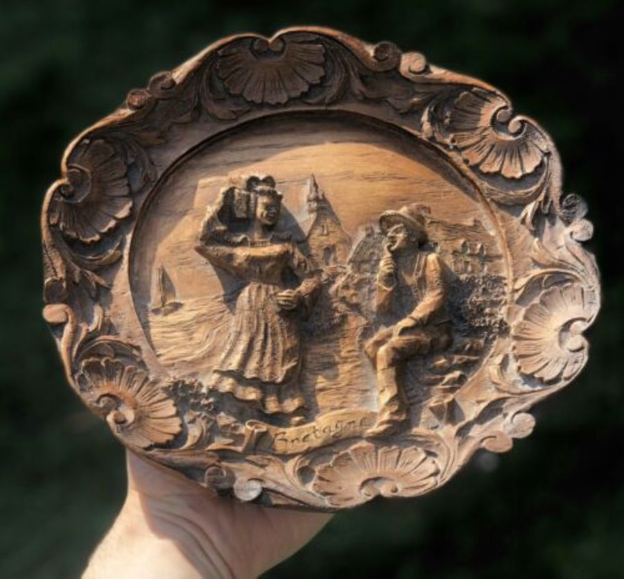 Bretagne French Hand Carved Wooden Love Romance Design Brittany Wall Plaque