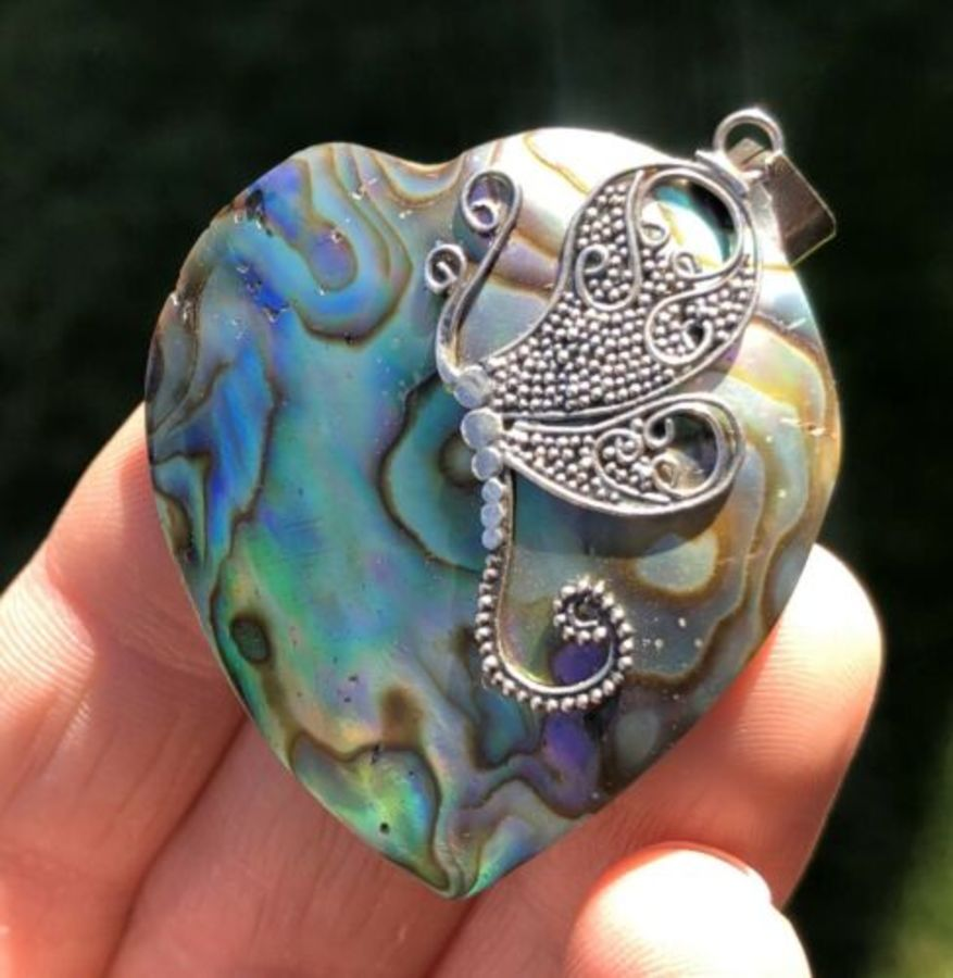 Solid Sterling Silver Hallmarked Dragon Fly Inlay Turquoise Style Heart Pendant