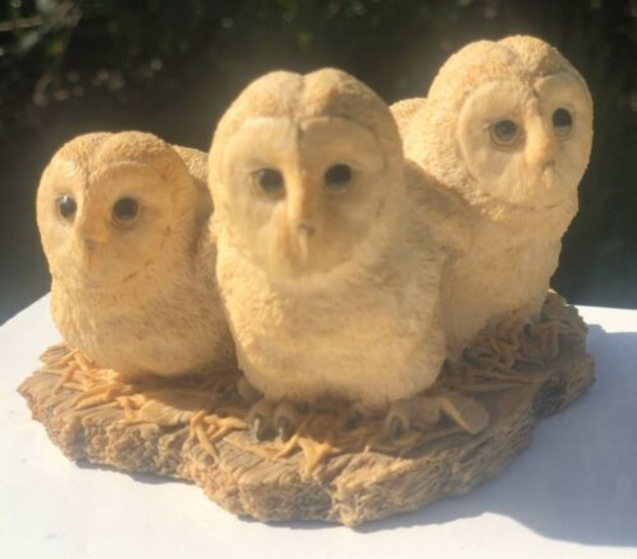 Border Fine Arts Three Owls Family Handmade In Scotland Figure Figurine Ornament