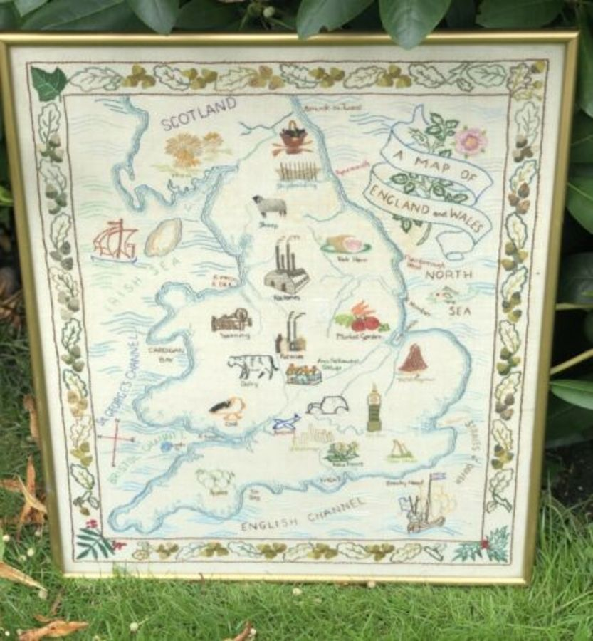 Map Of England And Wales RARE Tapestry Sampler Sewing Sewn Picture