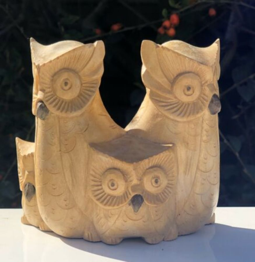 Owl Group Family Of Owls Hand Carved Wood Wooden Figurine Sculpture Ornament