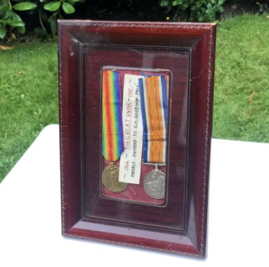 World War 1 One WW1 Framed Machine Gun Corps MGC PTE Private G H Goodwin Medals