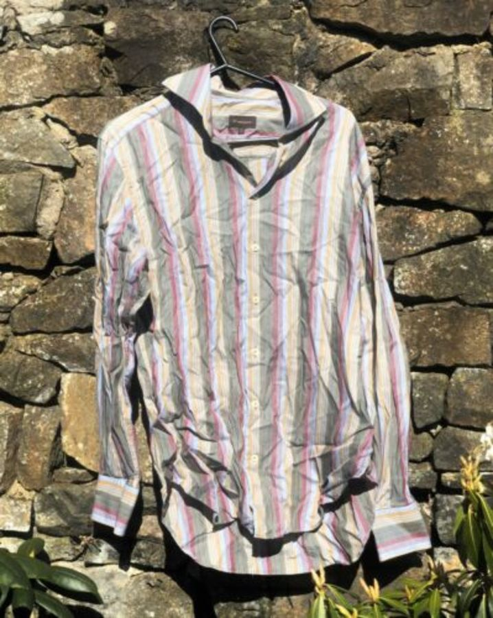 Mulberry Vintage Stripe Striped Design Formal Shirt (Size On Photo)