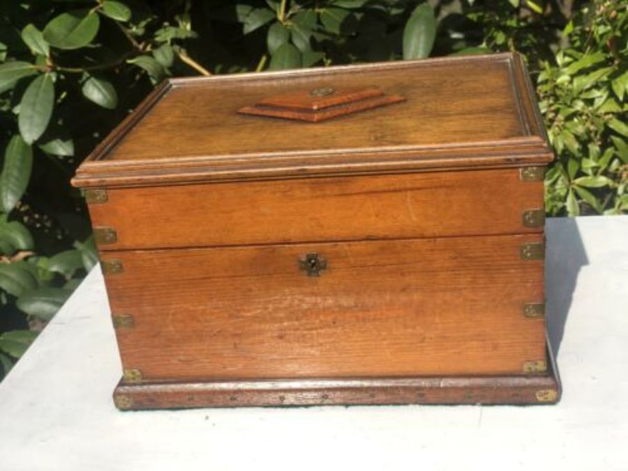 Antique Antique Wooden Monogram Initial S Personalised Writing Slope Correspondence Box