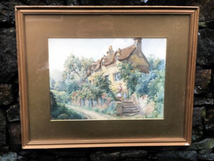 Antique Vintage Rural Cottage Village Mother And Child Watercolour Painting