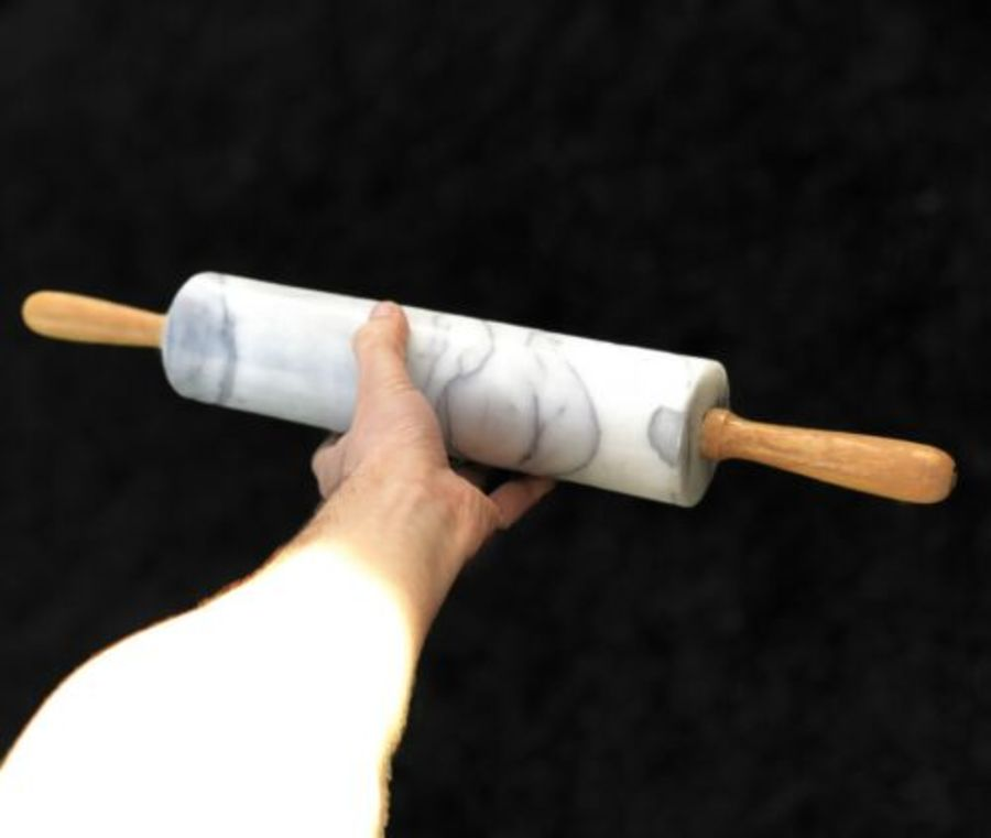 White Marble Wooden Inlay Vintage Cylinder Rolling Pin