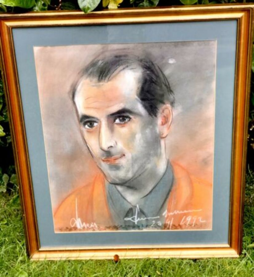 American Prisoner In Court Orange Uniform Signed Watercolour Painting Portrait
