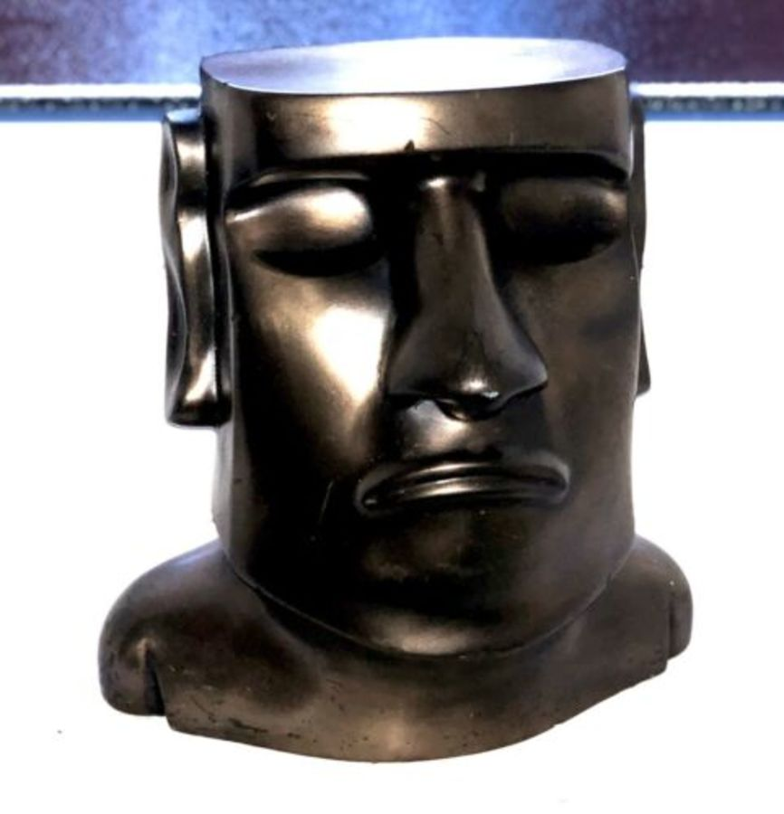 Bronze Tiki Head Tropical South Pacific  Modern Contemporary Art Sculpture