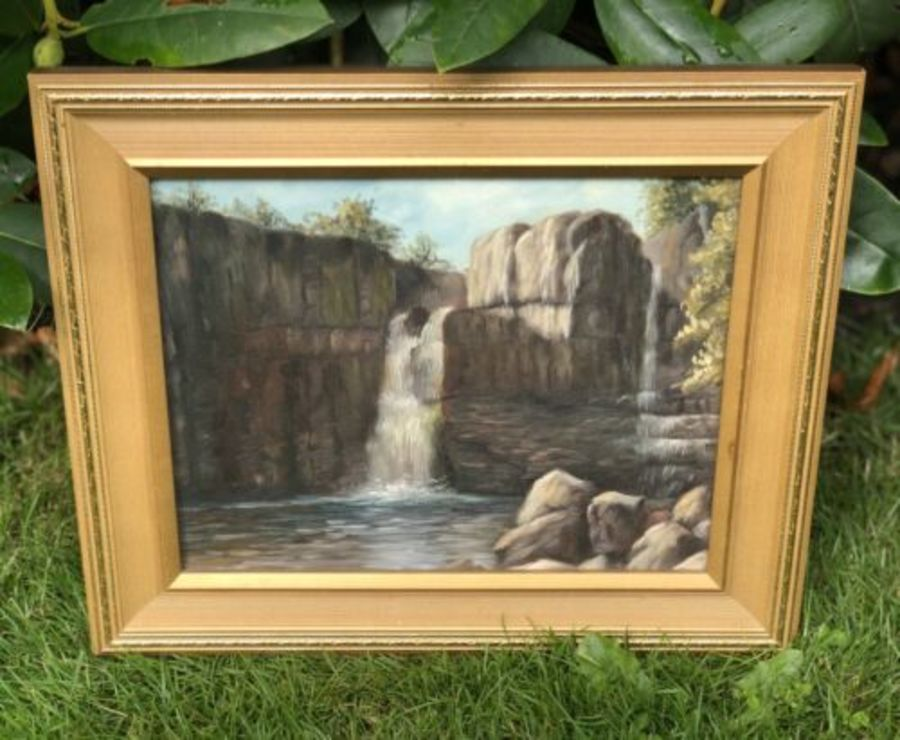 Waterfall Water Falling Rocks Cliff River Stream Scene Antique Oil Painting