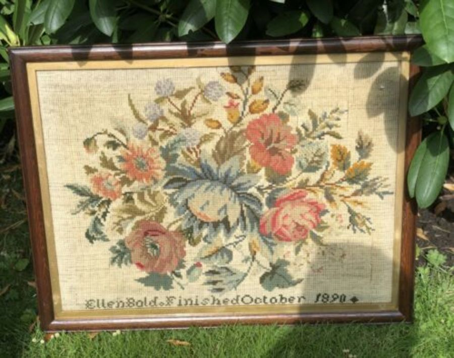 Antique Dated 1890 Flower Floral Stitched Sampler Tapestry Embroidery Picture