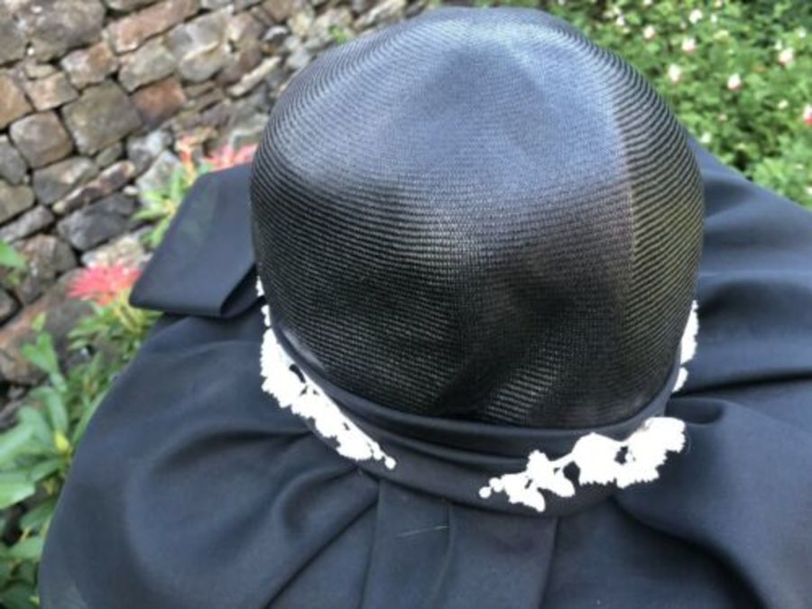 Antique Vintage Black Wedding Funeral Lady Ladies Kate Middleton Style Women's Hat