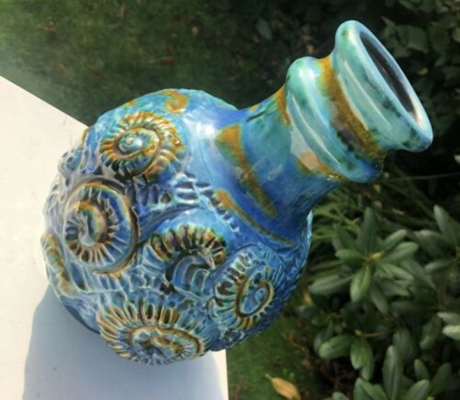 Antique West German Pottery RARE Blue Fossil Shell Pattern Vase