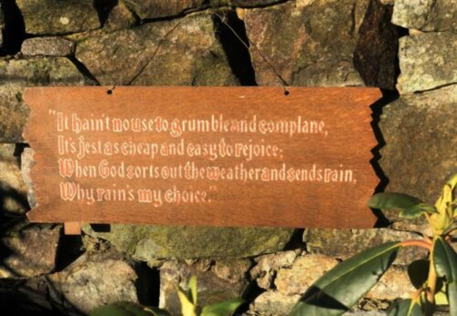 Antique Wood Wooden Hymn Prayer God Sorts Out The Weather Sends Rain Wall Plaque