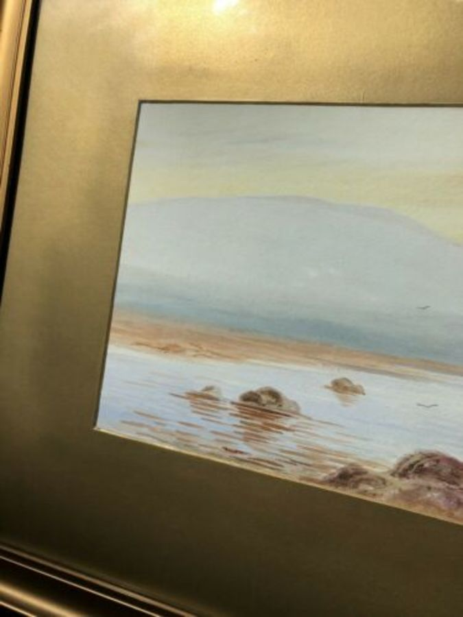 Antique J K Harnett Seaside Beach Sea Sand Shore Ocean Rocks Scene Watercolour Painting