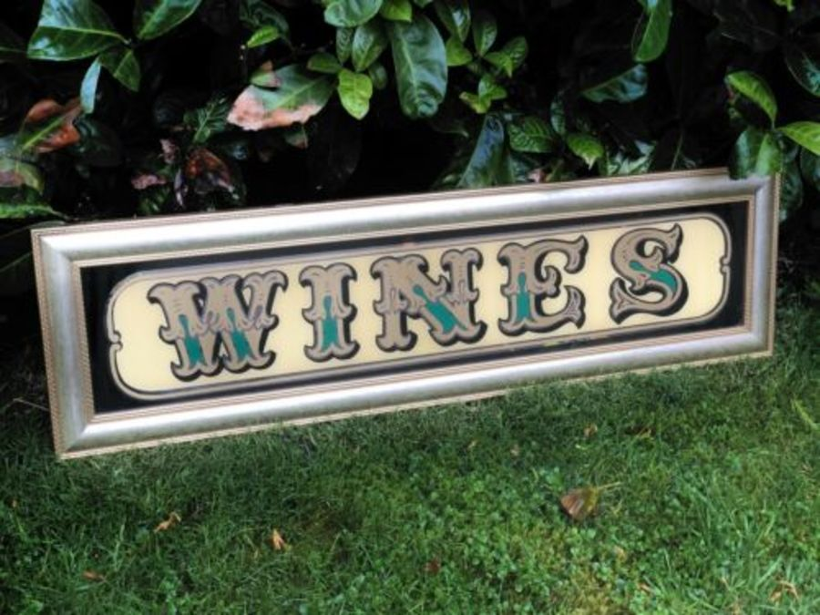 Wines Vintage Pub Club Bar Wine Alcohol Advertising Sign Mirror