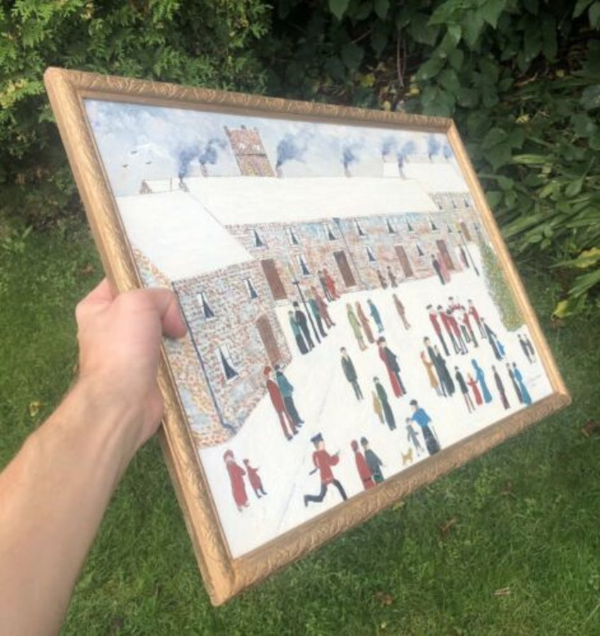 Antique Lowry Inspired Style Matchstick Stick Men Snow Scene Church Or School Painting