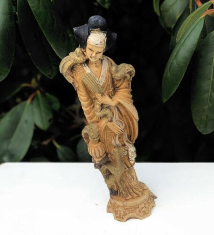 Oriental Chinese Resin Ornate Lady Figure Figurine Sculpture Statue Ornament