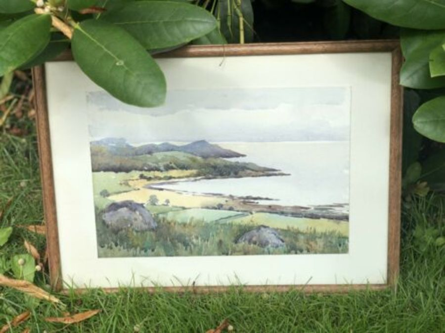Antique Signed Rural Painting Watercolour Of Lake District Or Other Lake Scene
