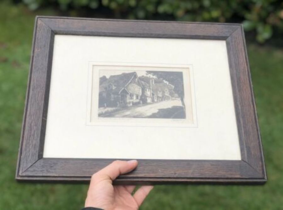 Antique Edwardian Square Picture Frame With Original Signed Black & White Print