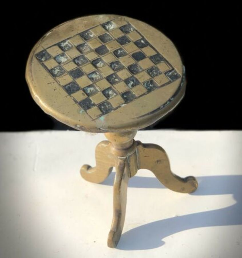 Antique Victorian Brass Chess Draughts Checkers Miniature Novelty Games Table