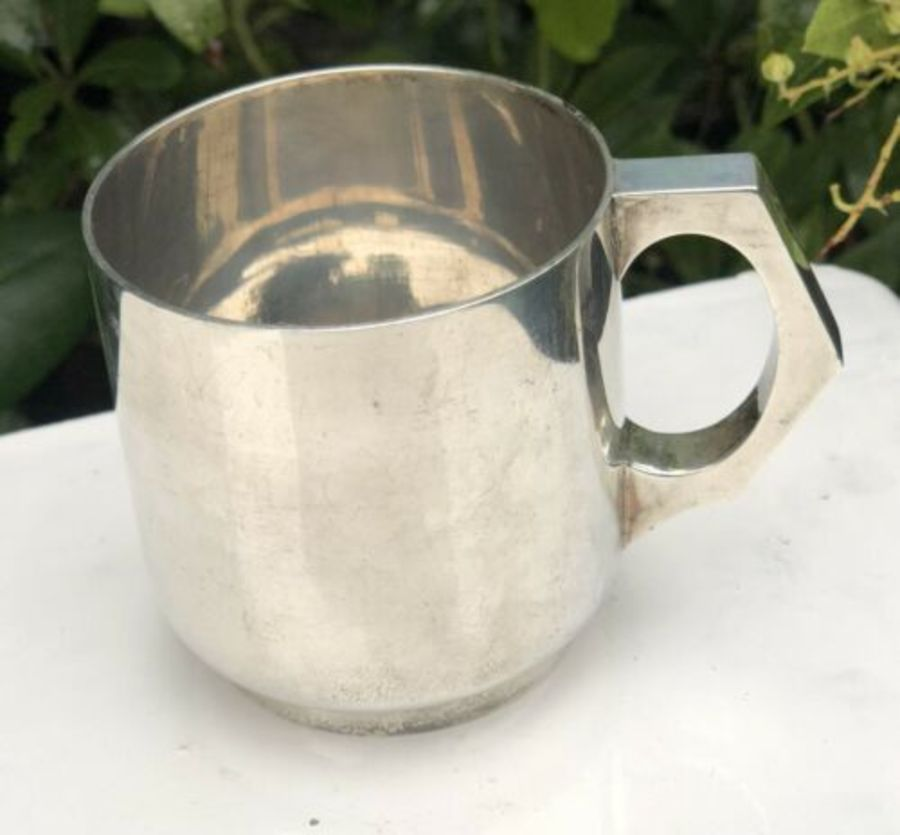 Solid Sterling Silver Hallmarked Art Deco Mug Tankard Or Christening Cup