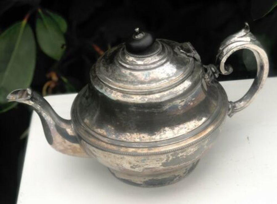 Antique Art Deco Silver Plate Plated Unpolished Teapot By Frank Cobb