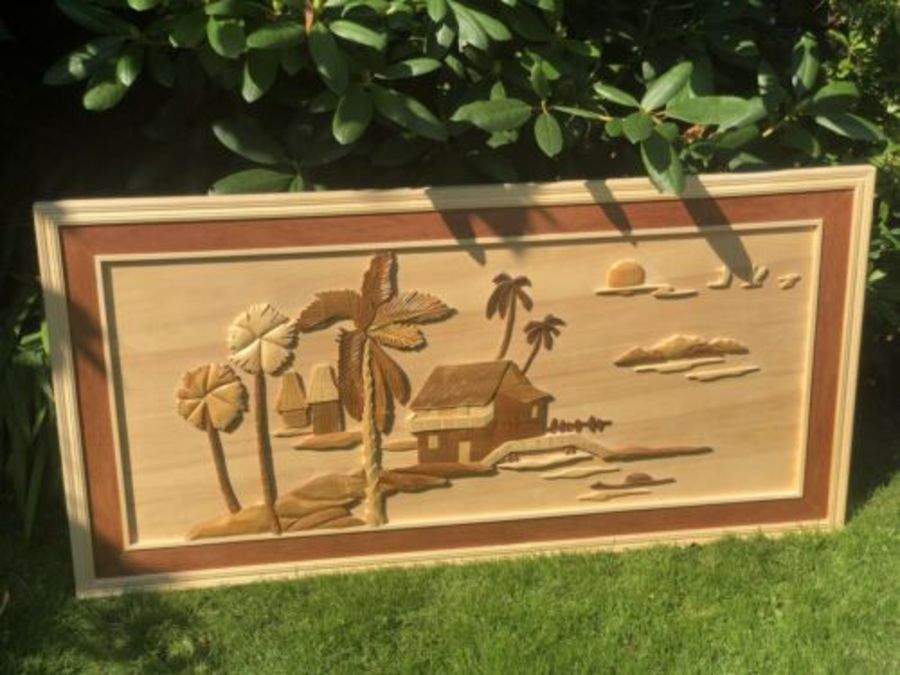 Wooden Vintage Wood Carved Sea Beach Scene Palm Tree Sun Beach House Picture